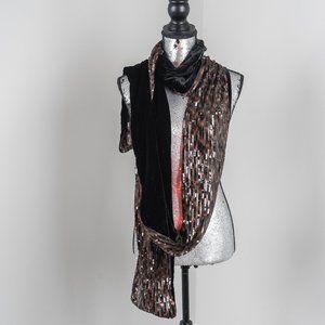 NWOT Rachel Zoe LONG sequin and velvet scarf